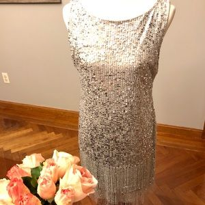 New silver beaded Adrianna Papell dress 12P